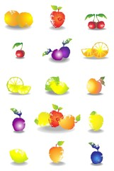 Icon set of various fruit and vegetables.