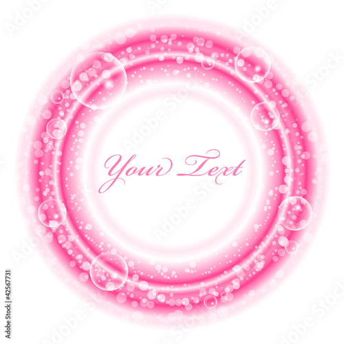 Vector frame with pink bubbles