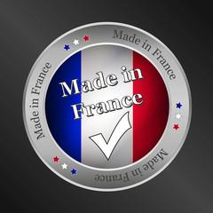made in france metallic vector button