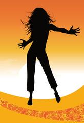 Fond orangé avec danseuse