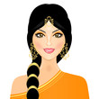 Vector illustration of eastern girl in orange