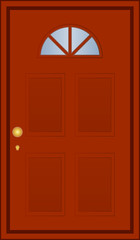 Vector illustration of brown door
