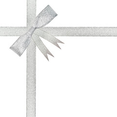 silver ribbon bow gift isolated on white