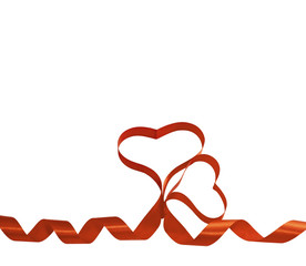 red ribbon hearts isolated