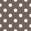 Vector pattern big white dots on brown retro seamless background