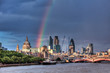 London Financial District Skyline over Thames with rainbow