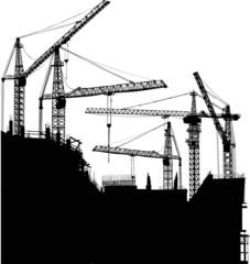 five cranes at house building