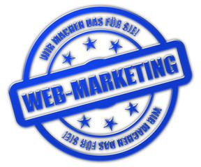Stempel blau glas WEB-MARKETING