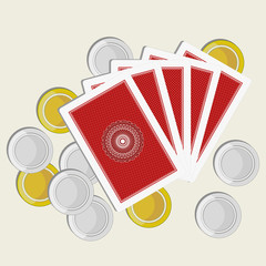 playing cards back side gold and silver coins