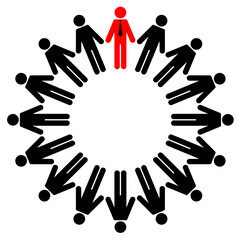 Vector illustration of employees and manager stand in a circle