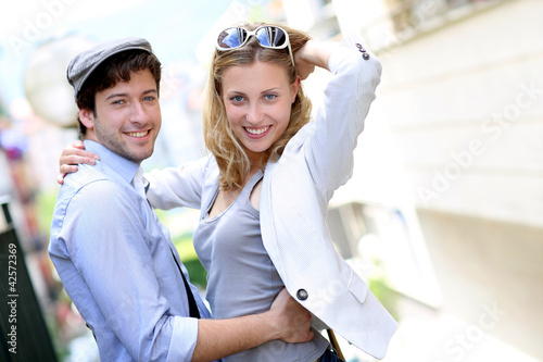 Young couple on a date in town