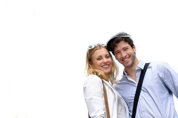 Portrait of cheerful romantic couple