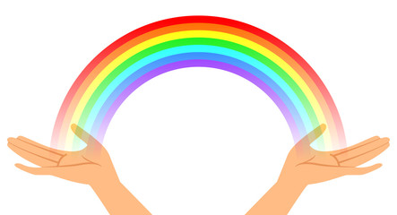 Vector illustration of hands with rainbow