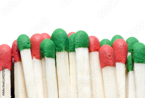 Extreme macro of matches isolated on white background