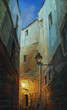 night in Gothic quarter of Barcelona, painting,illustration