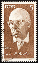 Postage stamp GDR 1971 Johannes R. Becher, Politician and Writer