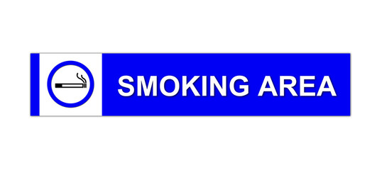 smoking area sign on white