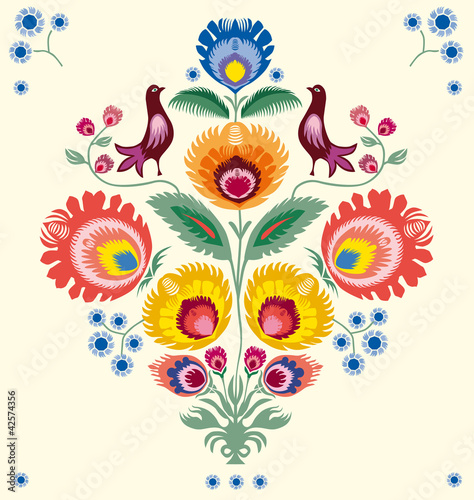 obraz PCV Kwiaty łowickie