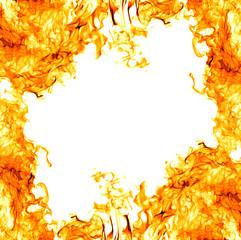 orange bright flame isolated on white frame