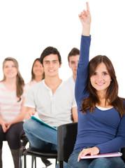Female student raising her hand