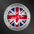 made in the uk, metallic vector button