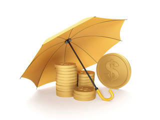 3d illustration: Protecting funds, insurance. Umbrella covers go