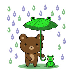 bear and young frog