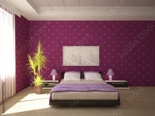 violet bedroom design from antoha713, Royalty-free stock photo