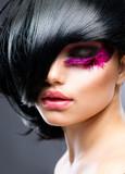 Fashion Brunette Model Portrait. Hairstyle