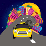 vector illustration of city nightlife and a taxi poster