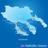 Peninsula of Halkidiki in Greece map
