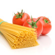 Spaghetti and tomato on a white background