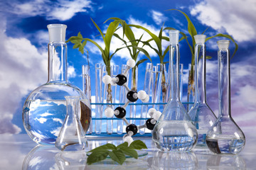 Laboratory  on blue sky background