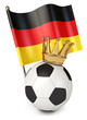 Soccer ball with a golden crown. Flag of Germany