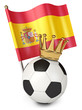 Soccer ball with a golden crown. Flag of Spain