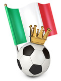 Soccer ball with a golden crown. Flag of Italy