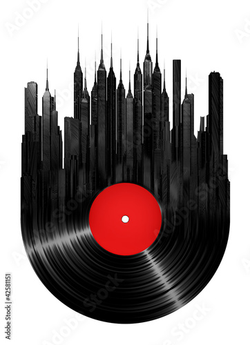 Fridge magnet Vinyl city