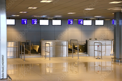 Modern interior of airport terminal check-in