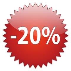 sticker red percentage 20
