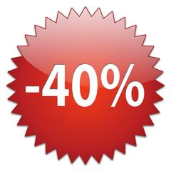 sticker red percentage 40