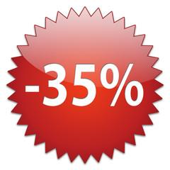 sticker red percentage 35