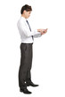 Full length of businessman with smart phone