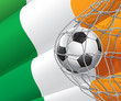 Soccer Goal. Irish flag with a soccer ball in a net.