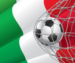 Soccer Goal. Italian flag with a soccer ball in a net.