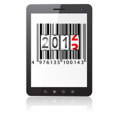 Tablet PC computer with 2013 New Year counter, barcode