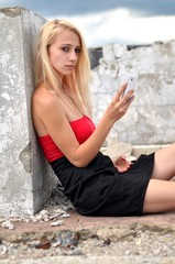 beautiful blonde girl on roof
