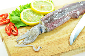 Fresh raw calamari and knife