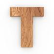 3d Font Wood Character T