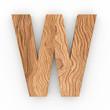3d Font Wood Character W