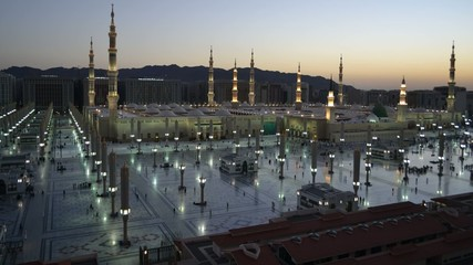 Nabawi Mosque time lapse from dawn to sunrise